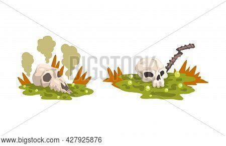 Environmental Pollution Set, Contaminated Air And Industrial Radioactive Waste Cartoon Vector Illust
