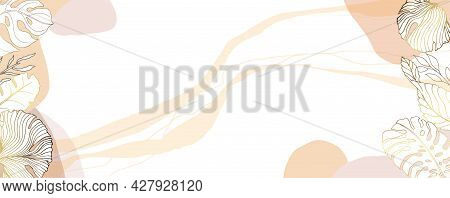 Luxurious Golden Wallpaper. Banner With Tropical Leaves. Watercolor Spots And Stains On A White Back