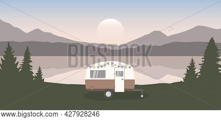 Wanderlust Camping Adventure In The Wilderness With Camper By The Lake