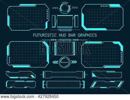 Futuristic Hud Bar Graphics. Future Games Text Bars Graphic Set On Grid Background, Videogame Tech D
