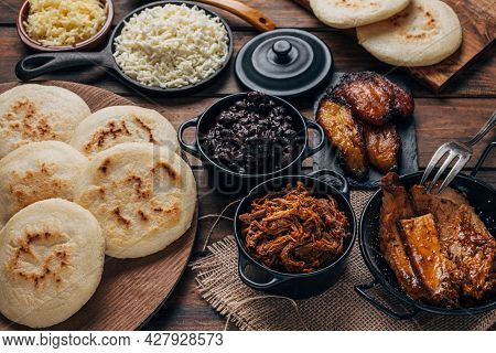 Table Served With Venezuelan Breakfast, Arepas With Different Types Of Fillings