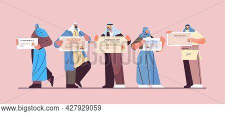 Arab Graduated People Holding Certificates Arabic Graduates Celebrating Academic Diploma Degree Corp