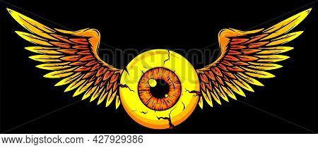 Design Of A Flying Eyeball With Wings.