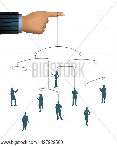 A Finger Holds A Mobile With People Hanging In Balance In A 3-d Illustration About An Employer Balan