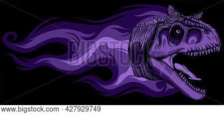 Dinosaurus Carnosaur Head With Flames Vector Illustration Design