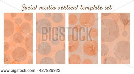 Geometrical Social Media Story Template Set. Vertical Painted Background In Pastel Orange And Brown.
