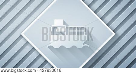 Paper Cut Cargo Ship With Boxes Delivery Service Icon Isolated On Grey Background. Delivery, Transpo