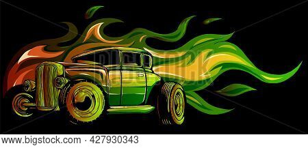 Vintage Car Hot Rod With Flames Vector