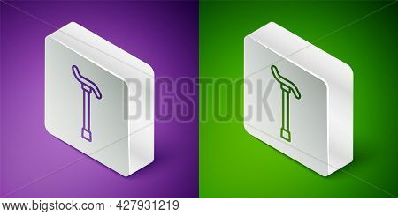 Isometric Line Walking Stick Cane Icon Isolated On Purple And Green Background. Silver Square Button