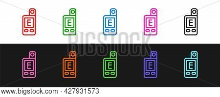 Set Line Light Meter Icon Isolated On Black And White Background. Hand Luxmeter. Exposure Meter - A