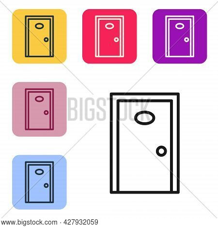 Black Line Hotel Corridor With Closed Numbered Door Icon Isolated On White Background. Set Icons In