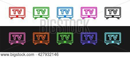 Set Line Smart Tv Icon Isolated On Black And White Background. Television Sign. Vector