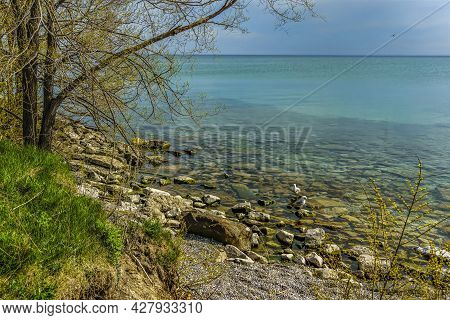View Of Lake Ontario From The Beach At Scarborough Bluff, Ontario, Canada