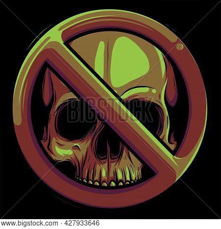 Prohibited Warning Skull Icon. Vector Illustration Design