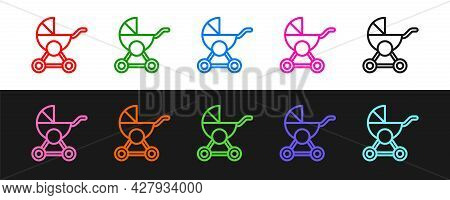 Set Line Baby Stroller Icon Isolated On Black And White Background. Baby Carriage, Buggy, Pram, Stro