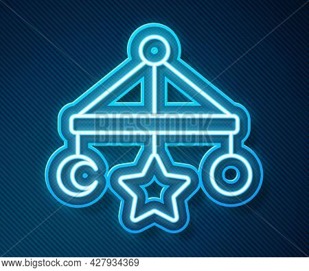 Glowing Neon Line Baby Crib Hanging Toys Icon Isolated On Blue Background. Baby Bed Carousel. Vector
