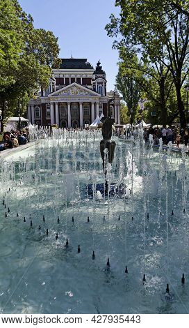 Sofia, Bulgaria - September 22, 2012: Water Fountain In The Garden In Front Of The Ivan Vazov Nation