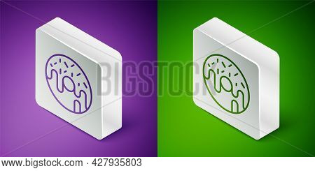 Isometric Line Donut With Sweet Glaze Icon Isolated On Purple And Green Background. Silver Square Bu