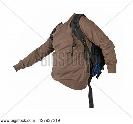 Blue  Backpack Dressed In  Knitted Brown  Sweater Isolated On A White Background. Backpack And Male