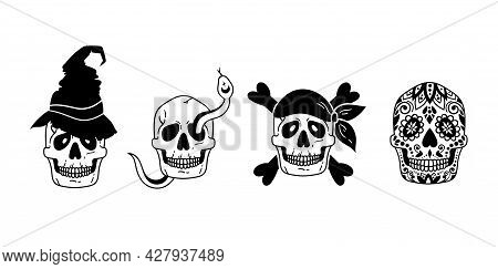 Mystical Halloween Skull Isolated Clipart Bundle, Horror Skull Collection, Pirate, Snake, Witch Hat
