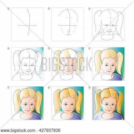 How To Learn To Draw Sketch Of Cute Little Girl. Creation Step By Step Watercolor Painting. Educatio