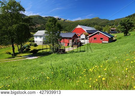 Forde, Norway - July 24, 2020: Typical Farmhouse In Forde, Sogn Og Fjordane County. Norway Has Very