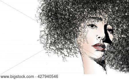Here Is A Drawing Of A Beautiful Girl With Curly Hair. This Is A 3-d Illustration With Text Area And