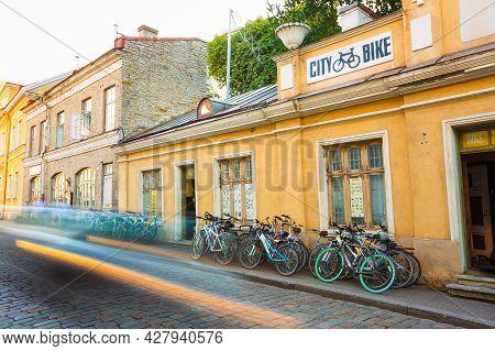Tallinn, Estonia - July 26: Bicycle Rental City Bike In Old Part Town On July 26, 2014 In Tallinn. C