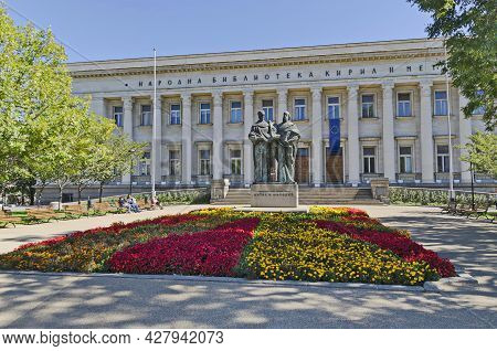 Sofia, Bulgaria - September 22, 2012: National Library Cyril And Methoduis In Autumn With Sculpture