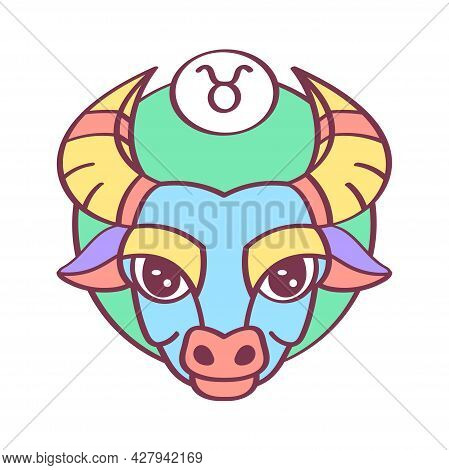 Isolated Taurus Icon Colored Zodiaz Sign Vector
