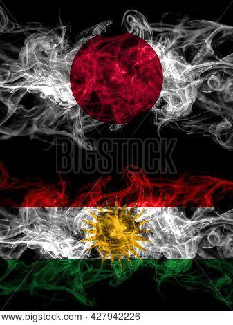Smoke Flags Of Japan, Japanese And Kurdistan, Kurdish, Kurds