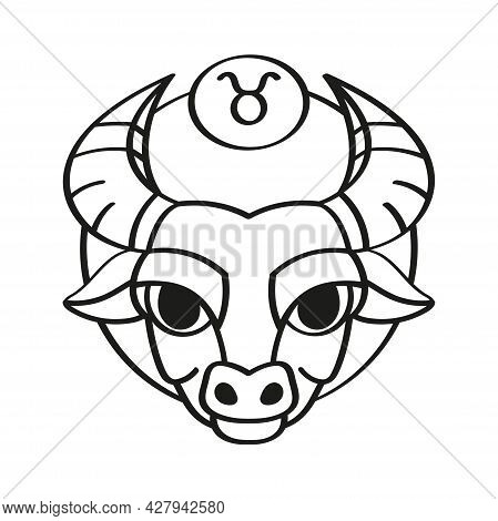 Isolated Taurus Icon Outline Zodiaz Sign Vector