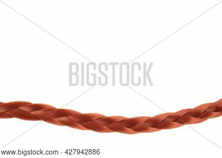 A Beautiful Braid Is Braided By A Brown-haired Woman In An Empty Space On A White Background. The Co
