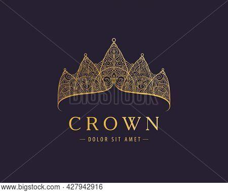 Abstract Luxury, Royal Golden Company Logo Icon Vector Design. Elegant Crown, Tiara, Diadem Premium