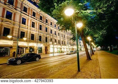 Helsinki, Finland - July 27, 2014: Night View Of Pohjoisesplanadi Street In Helsinki