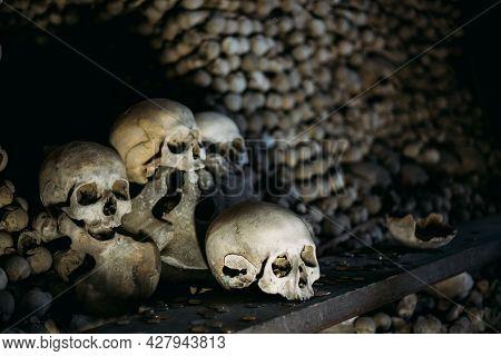 Kutna Hora, Czech Republic - October 14, 2014: Old Bones, Skulls In Sedlec Ossuary Kostnice , Kutna