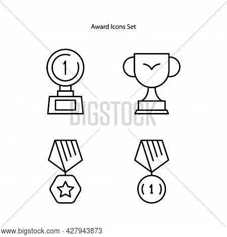Award Icons Set Isolated On White Background. Award Icon Thin Line Outline Linear Award Symbol For L