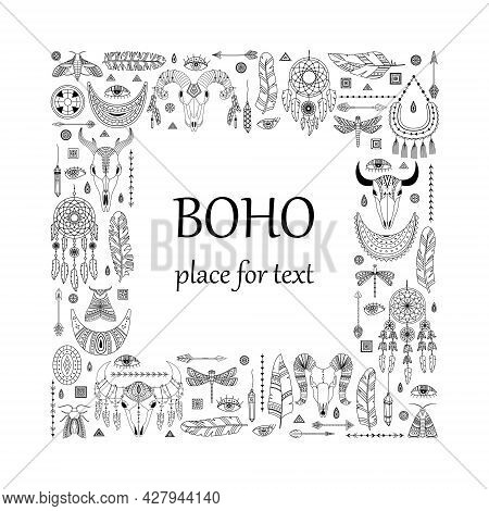 Vector Illustration With Boho Elements. Template With A Place For Text. Animal Skull, Dreamcather; A