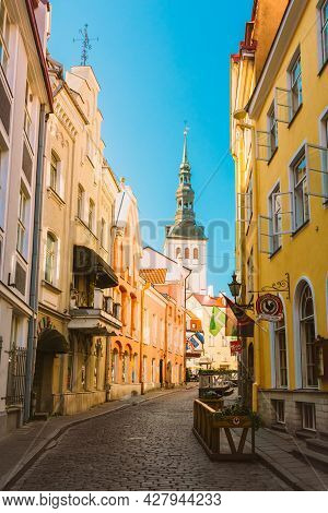 Tallinn, Estonia - July 26: Streets And Old Town Architecture Estonian Capital On July 26, 2014 In T