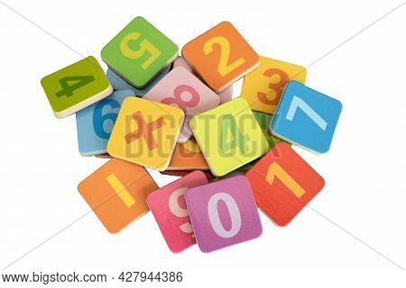 Math Number Colorful On White Background, Education Study Mathematics Learning Teach Concept.