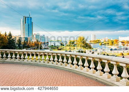 Minsk - Oct 1: View Of The Modern Architecture Of Minsk, From The Area Nyamiha In Minsk, On October