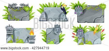 Tropical Stone Sign Board Set, Vector Maya Game Ui Rock Panel, Aztec Jungle Totem Face, Tiki Mask, T