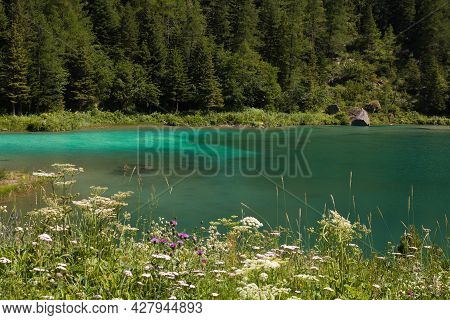 View Of Lake Of Fairies (lago Delle Fate In Italian) In Macugnaga, Italy Against Mountains. It Is Fa