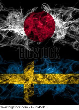 Smoke Flags Of Japan, Japanese And Sweden, Swedish Swede