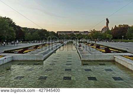 Sofia, Bulgaria -  August 20, 2012: Part Of A Residential Area Overlooking The Fountains And Ruins O