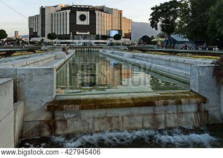 Sofia, Bulgaria -  August 20, 2012: Part Of A Residential Area Overlooking The Fountains And The Nat