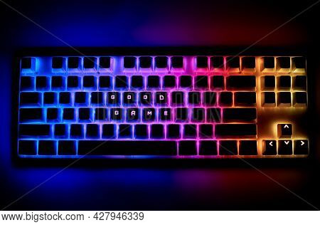 The Concept Of Computer Game Players. Keyboard With The Word Good Game. Slang Of Game Players. Multi