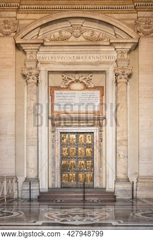 Vatican city - June 1, 2020: The Holy Door is the northern entrance at St. Peter's Basilica in the Vatican. It is cemented shut and only opened for Jubilee Years in Vatican