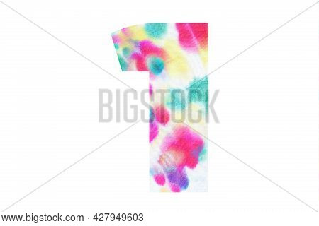 Decorative Numeral 1 With Abstract Hand-painted Tie Dye Texture. Isolated On White Background. Illus