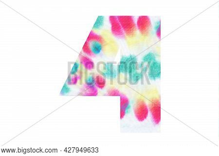 Decorative Numeral 4 With Abstract Hand-painted Tie Dye Texture. Isolated On White Background. Illus